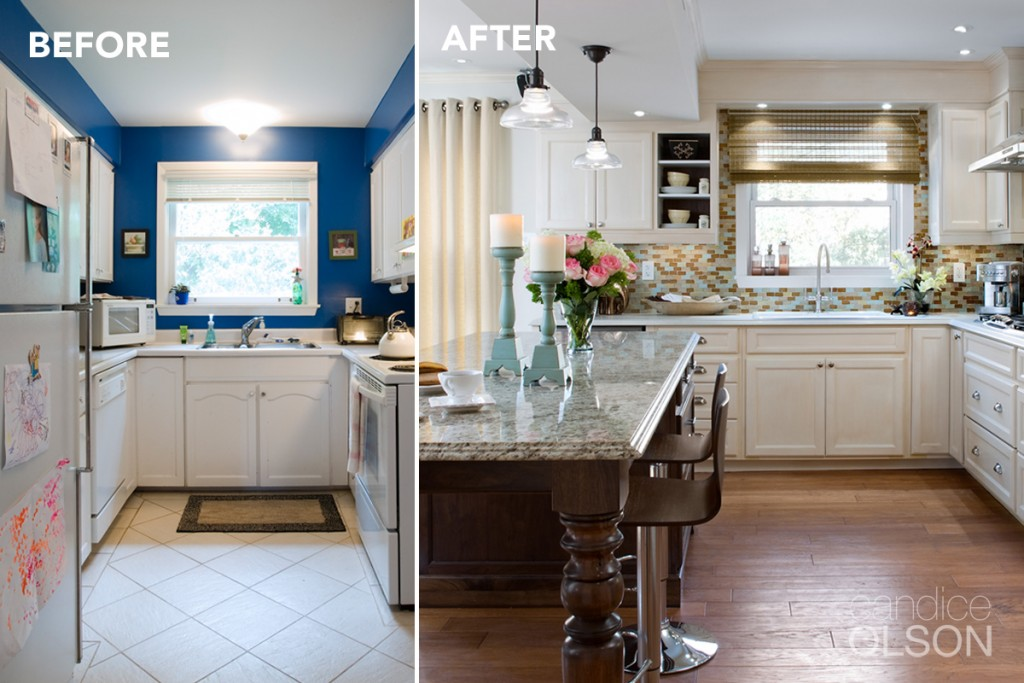 Before & After photo of a Candice Olson Thermador kitchen renovation